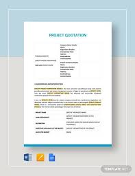 Quotation Templete 13 Project Quotation Samples Templates In Pdf