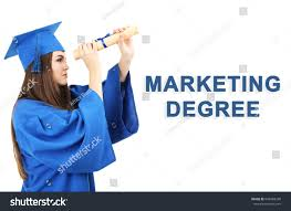 marketing degree concept student graduation gown stock photo  student in graduation gown and cap diploma on white background