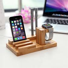 bamboo charging dock station bracket cradle mobile phone