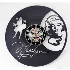 marilyn monroe vinyl personality vinyl disc wall clock simple modern home decoration creative handmade crafts gifts living room decorative roman numeral