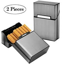 Ubegood Cigarette Case 2 Pieces Metal Cigarette Boxes With