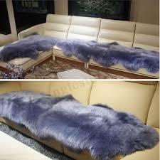 65x100 mongolian sheepskin rug chair cover warm carpet seat charcoal grey