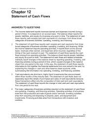 Cash Flows From Operating Activities Chapter 12 Statement Of Cash Flows Answers To
