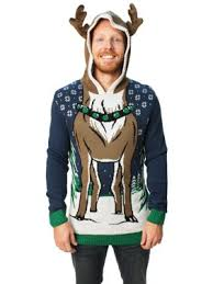 Product Image Ugly Christmas Sweater Men\u0027s Hooded Reindeer Mens Sweaters - Walmart.com