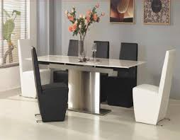 black and chrome furniture. Dining Table With Chrome Single Base Feat Charming Black And White Vinyl Upholstery Chairs In Grey Contemporary Room Furniture Ideas S