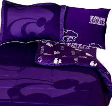 ncaa kansas state full bed set purple cotton bedding