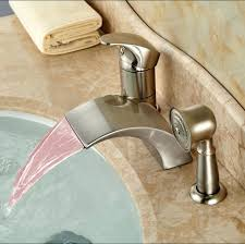 waterfall bathtub faucet luxury led light widespread tub mixer taps deck mount bathroom brushed nickel roman