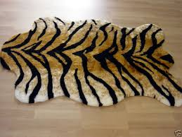 tiger faux fur rug animal skin pelt new