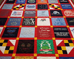 Custom Tshirt quilt. T-shirt quilt made out of 9-49 tees. & T-shirt quilts made from 9 to 49 tee shirts. Memory tshirt quilt. Adamdwight.com