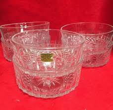 vintage lot 6 arcoroc lear cut glass ice cream bowl made in france 1 of 5