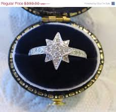 valentines day estate diamond pavé star engagement ring 14k white gold vintage north star