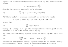 Water Potential Equation Solved 1 Shallow Water Pv Conservation In This Problem Y