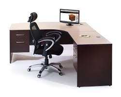 image of wood l shaped desk with drawers