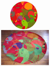 design your own rug red green orange overlapping circles round carpet small