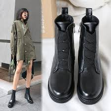 us 60 autumn winter 2018 hot style web celebrity genuine leather martin boots cross tied round toe fashion women s shoes las ankle boots