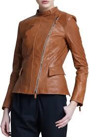 giorgio armani giorgio armani asymmetric zip leather jacket light brown