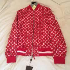 louis vuitton x supreme red leather monogram jacket m 48 rare box logo pe er