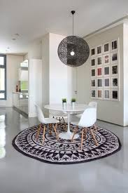 modern dining room decor with beautiful rug and round table hupehome regard to ideas 14