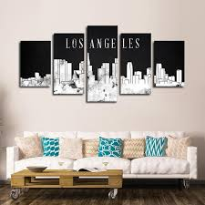 los angeles watercolor skyline bw multi panel canvas wall art on wall art stores los angeles with los angeles watercolor skyline bw multi panel canvas wall art