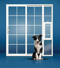 jeld wen vinyl sliding patio door with integrated panel pet door