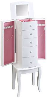 cute pink velvet lined white jewelry armoire