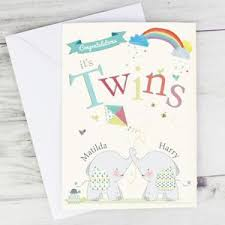 Newborn Congratulation Card Personalised New Baby Twins Congratulations Card For Newborn Twins