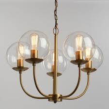 antique brass and glass globe 5 light alessa chandelier world market throughout decor 3