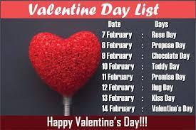 valentine week list 2021 day dates