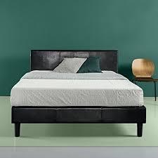 faux leather platform bed. Fine Leather Zinus Faux Leather Upholstered Platform Bed With Wooden Slats King Black Intended M