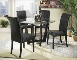 Finish Modern Round Clear Glass Top 5Pc Dining Set HEDS 722 48 Sierra