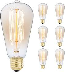 6-Pack Edison Light Bulb, Antique <b>Vintage Style</b> Light, Amber Warm ...