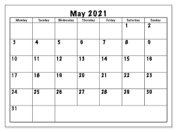may 2021 holiday calendar monthly