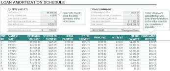 Amortized Schedule Excel Sample Loan Amortization Schedule Template Xls Student Excel