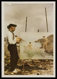 anonymous colour glass transparency photograph of henry scott tuke on the beach painting
