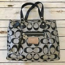 Large Coach Poppy Tote Purse in Black   Silver