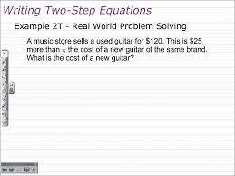 math worksheets writing two step equations them and try to solve