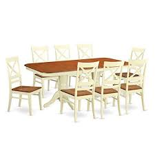 east west furniture naqu9 whi w 9 piece dinette table and 8 dining room