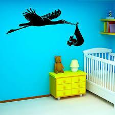 stork and baby vinyl wall art sticker