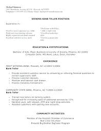 Sample Resume For A Bank Teller Sample Resume For Bank Jobs Cover Teller Position Letter Bank Cover