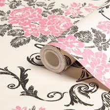 Pink Damask Wallpaper Bedroom Statement Beatrice Black Pink Damask Wallpaper Departments