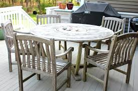 round patio table for 6 6 piece weathered teak outdoor patio furniture sets with round table