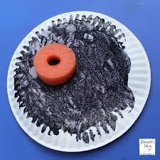 total eclipse painted paper plates moon plate
