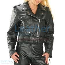 brando women biker leather jacket front view