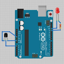 flutter tutorials diagram showing an led and temperature sensor wired to the arduino uno