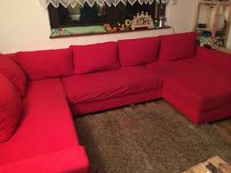 Rote Mikrofaser Couch In U Form