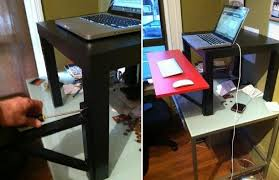 Build Standing Desk With Lack Side Table Also Viktor Shelf Ideas And Black  Painted Color Also Red Mouse Board