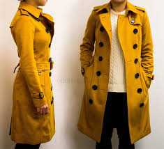 sandringham fit cashmere trench size 00 umber yellow sleeve length 23 25 overall length 40 shoulder 13 5 waist 12 5 hip 17 5