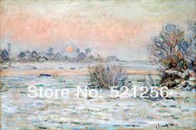 free shipping wall art home decoration famous canvas prints printed painting pictures claude monet winter sun lavacourt on famous wall art prints with free shipping wall art home decoration famous canvas prints printed