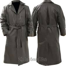 mens black solid leather long trench coat duster double ted belted rockymountainhides trench