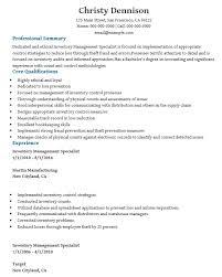 Inventory Control Specialist Resume | Dadaji.us